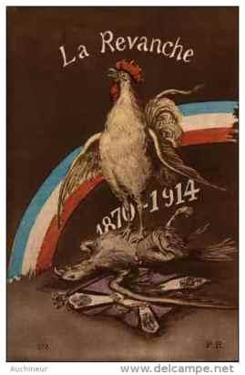 la revanche 1870-1914, coq sur aigle et drapeau