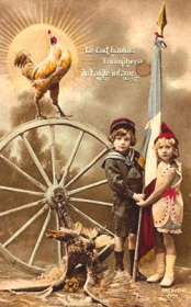 Le coq triomphe de l'aigle infâme