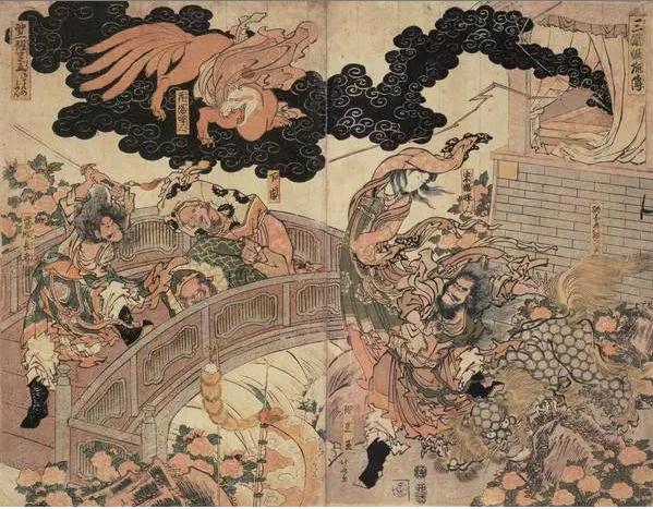 Peinture « d'Hokusai » (葛饰北斋) intitulée « Sangoku Yoko-Den » (三国妖狐伝) mettant en scène l'attaque d'un Renard à neuf queues (九尾狐)..png