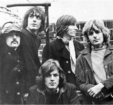 Pink Floyd in January 1968, from the only known photo-shoot of all five members. Clockwise from bottom - Gilmour, Mason, Barrett, Waters, Wright