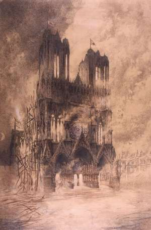 Emile Boussu - La Cathédrale de Reims en flammes, 1914