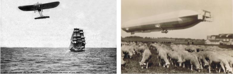 le Blériot XI piloté par Blériot traversant la Manche en 1909 et le Zeppelin LZ10 Schwaben en 1911