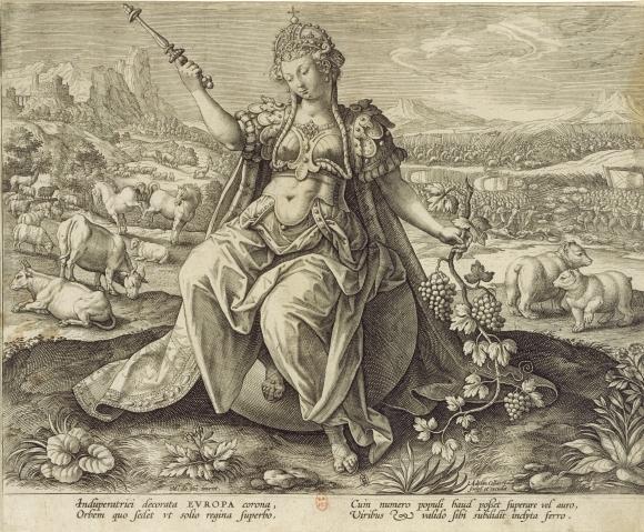 L'Europe, gravure d'Adriaen Collaert d'après Martin de Vos, vers 1589