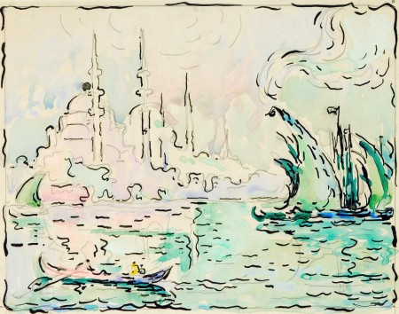 Paul Signac - Constantinople, Yeni Djami, vers 1909. Aquarelle, plume et encre de Chine, 20,8 cm x 25,7. Photo Maurice Aeschimann