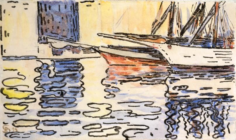 Paul Signac - Port de Saint-Tropez, étude de reflets, 1894. Aquarelle, plume et encre de Chine, 10,2 cm x 17. Photo Maurice Aeschimann.