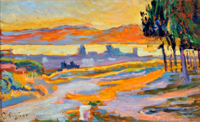 Paul Signac - Soleil coucahnt sur la ville de saint-Tropez, 1892 – Etude