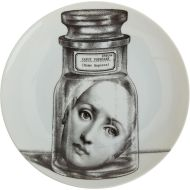 Decorative porcelain wall plate from the Theme and Variations series. Woman's Face in Jar.. Handmade in Italy.