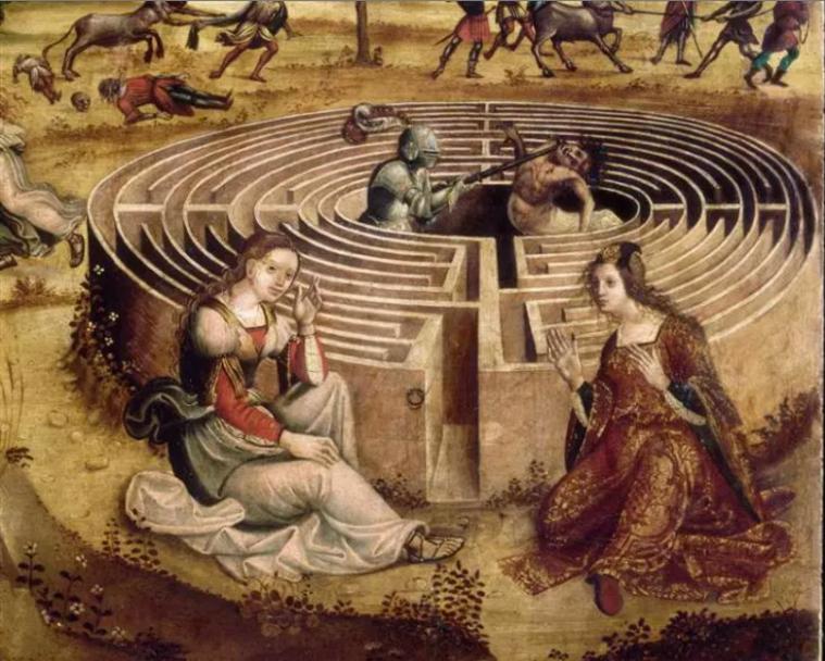 Maître des Cassoni Campana - Ariane et Phèdre, Thésée et le Minotaure, entre 1510 et 1520