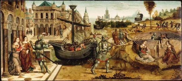 Thésée et le Minotaure. Entre 1510 et 1520 collection Campana. Maître des Cassoni Campana