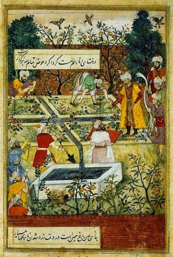 babur supervisant construction jardin 1590-1