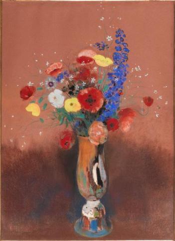 Odilon Redon - Bouquet de fleurs des champs dans un vase à long col