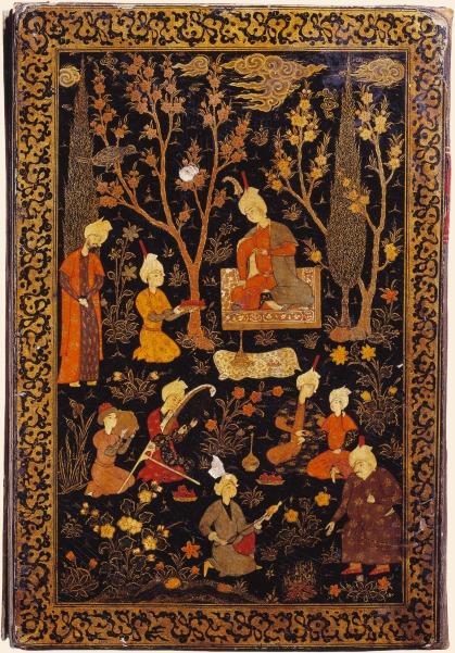 Reliure d'un recueil de poèmes représentant un prince assis dans un jardin lors d'une fête - Choix de vers de Khosrow Dehlevi et Djâmi, Qazvîn (Iran), 1559-1560 (BNF)