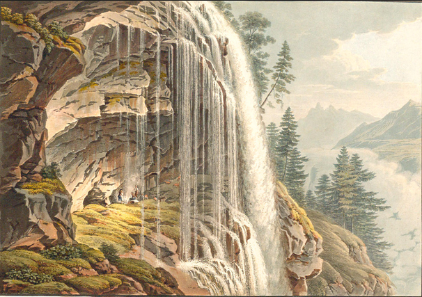 The Upper Staubbach falls - illustration du Voyage pittoresque de l'Oberland Bernois, 1822