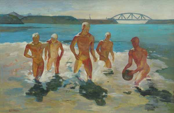 Alexander Deineka - the boys start running out from water, 1930