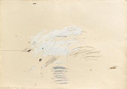Cy Twombly, Sans titre (Sperlonga), 1959 - peinture industrielle, pastel à l'huile et crayon sur papier