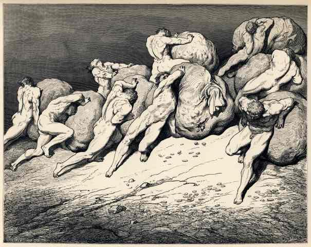 Gustave Doré - Avares et prodigues - illustration de pour L'Enfer de Dante, 1861