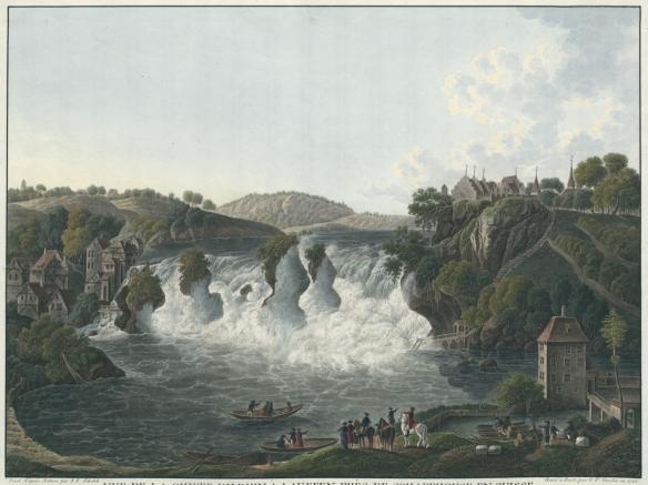 Vue de la Chute du Rhin à Lauffen près de Schaffhouse en Suisse