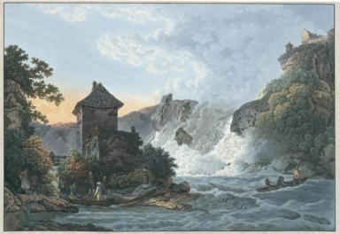 La Cataracte du Rhin près de Schaffhouse, au moment du lever du Soleil prise .