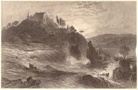 William Henry Bartlett (1809-1854), Stich von James Charles Armytage (um 1820-1897) - Der Rheinfall.
