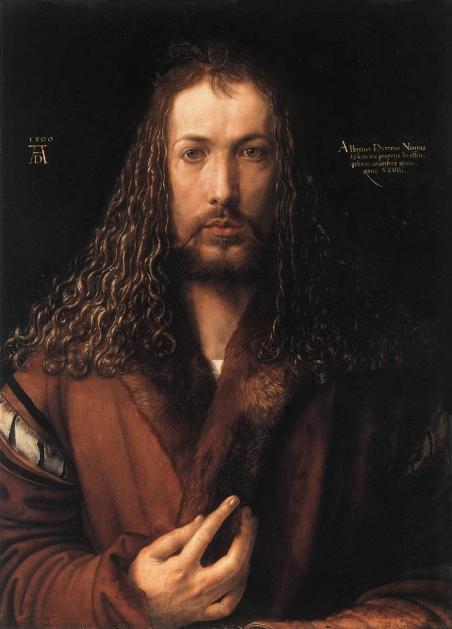 albrecht-durer-auto-portrait-en-robe-a-col-de-fourrure-1500