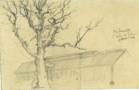 Delarbre Léon, déporté - Le chêne de Gœthe à Buchenwald, 1944.png