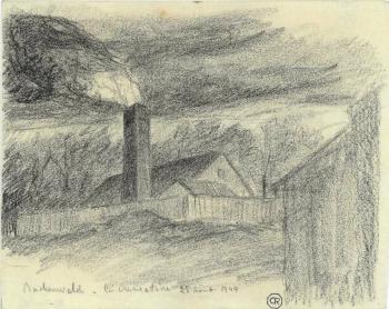 Delarbre Léon, déporté - Le four crématoire à Buchenwald, 1944.png