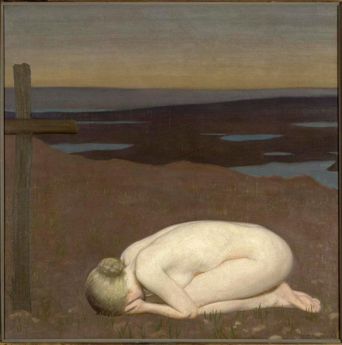 youth_mourning_is_a_return_to_his_early_style_of_painting-1-_the_painting_is_a_response_to_the_horrors_of_the_first_world_war_and_in_particular_the_death_of_clausens_own_daughters_fiance-_he_uses_