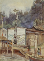 Emily Carr - Thunderbird of Wawkyas, Pole and Housefront, Alert Bay, vers 1908 .jpg