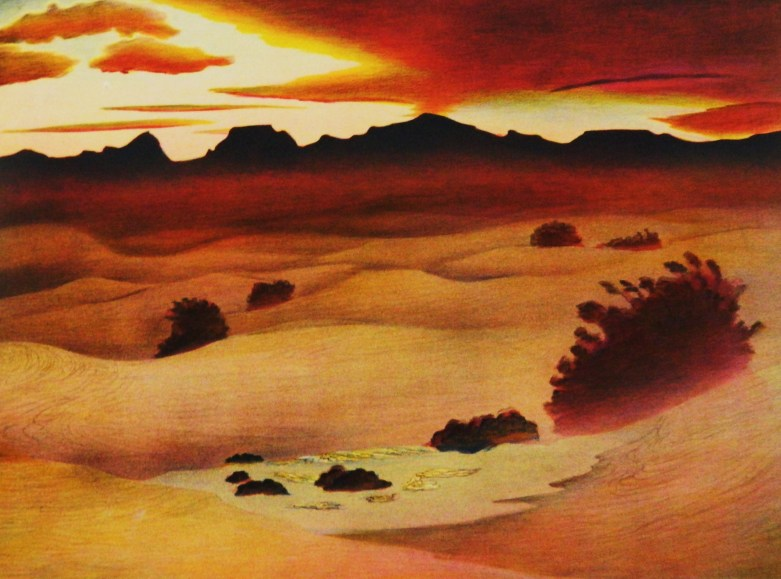 Buell Whitehead (AM 1919-1953) – Death Valley Sunset – Color lithograph, 1946.JPG