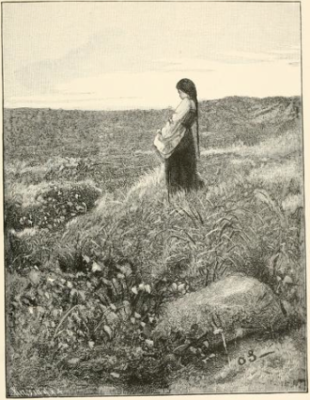 Erik Werenskiold - conte The Twelve Wild Ducks  She was on the moor gathering cotton-grass.png