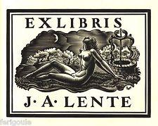 Ex Libris de Valentin Campion pour J.A. Lente