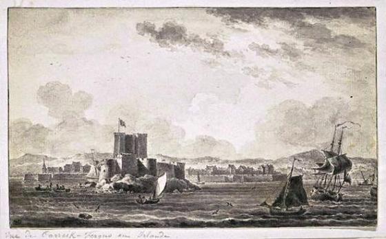 Une vue de Carrickfergus et de son fort, à la fin du xviiie siècle. (Nicolas Ozanne)