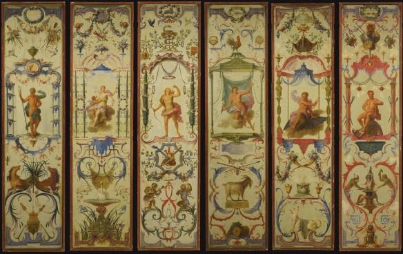 Claude III Audran - ensemble de 6 panneaux allégoriques sur le thème des 12 mois grotesques, de Claude Audran III, copie des panneaux pour la tenture réalisée pour Meudon