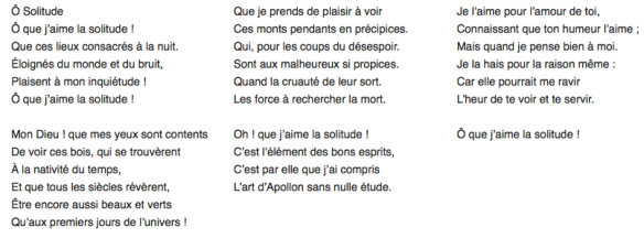 O Solitude, texte de Saint-Amand en français moderne