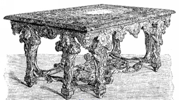 table en marbre de rapport de la galerie d'Apollon.