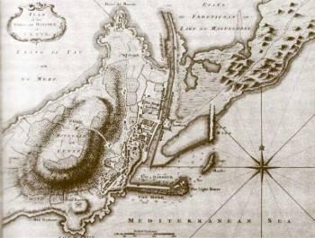 Plan de la ville et du port de Cette en 1774 selon J. Jefferys