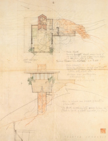 F.L.W. - Arch Oboler Guest House (Eleanor's Retreat), project, Malibu, California, Perspective, 1941.jpg