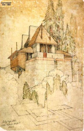 Perspective and partial plan for the Lodge Type Cabin, the Lake Tahoe Summer Colony, by Frank Lloyd Wright [1923]