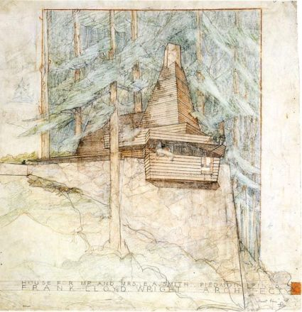Perspective drawing. Unbuilt. Wright Smith House. Piedmont Pins, California, 1939. Usonian Style. Frank Lloyd Wright