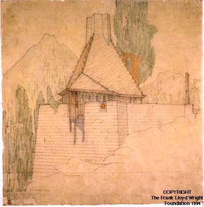 Perspective for the Wigwam Cabin, the Lake Tahoe Summer Colony. Office of Frank Lloyd Wright. Graphite and colored pencil on tracing paper, ca. 1923.png