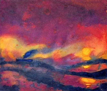 emil-nolde-red-sea-with-setting-sun-and-steamship-1946