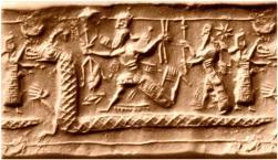 L_entité primordiale Tiamat, Tiamat personnifie les eaux salées des océans où règne le chaos, est représentée comme un serpent gigantesque sur ce sceau babylonien.