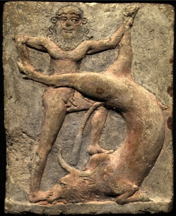 Representation of Gilgamesh, the king-hero from the city of Uruk, battling the 'bull of heavens'; terracotta relief (c. 2250-1900 BC) kept at the Royal Museums of Art and History, Brussels.jpg