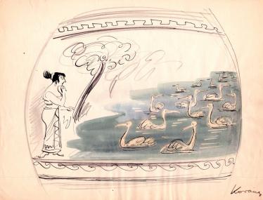 Lovarski sketch - Leda et les cygnes.png