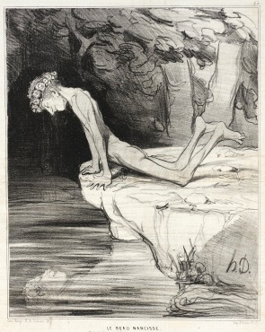 Le beau Narcisse - illustration humoristique du Charivari, septembre 1842