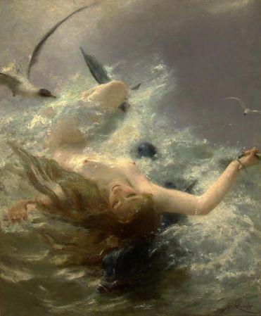 Beneš Knüpfer Nymph on a Dolphin