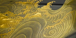 kazari_L16050-4_japanese_lacquer_urushi_maki-e_makie_tray_artist_studio_taisho_showa_waves_sun_moon_red_gold_black