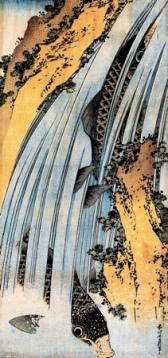 Katsushika Hokusai-Carps ascending waterfall
