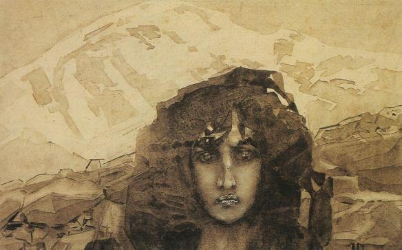La tête de démon sur fond de montagnes. Aquarelle dorée - Голова Демона на фоне гор. Золотая акварель.jpg