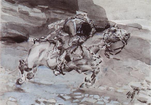 Le cheval se précipite plus vite que la biche ... Aquarelle dorée.jpg